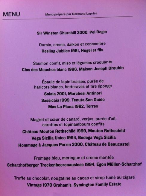 Le menu concocté par Normand Laprise et Charles-Antoine Crête se passe de commentaire!